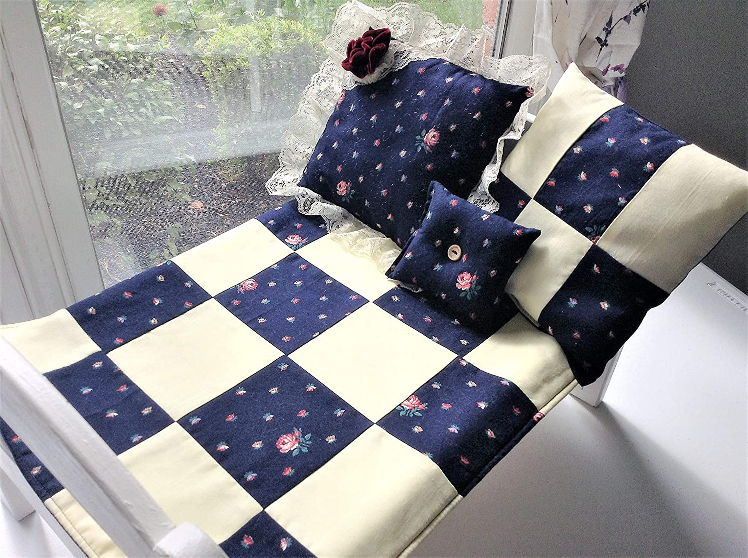 Handmade Patchwork Block Style Quilt Patchwork Quilted Blanket Doll Bedding Set With 3 Pillows Blue Yellow American Girl Bitty Baby Crib