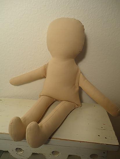 "Primitive White Muslin Craft Doll  12/"" Tall"