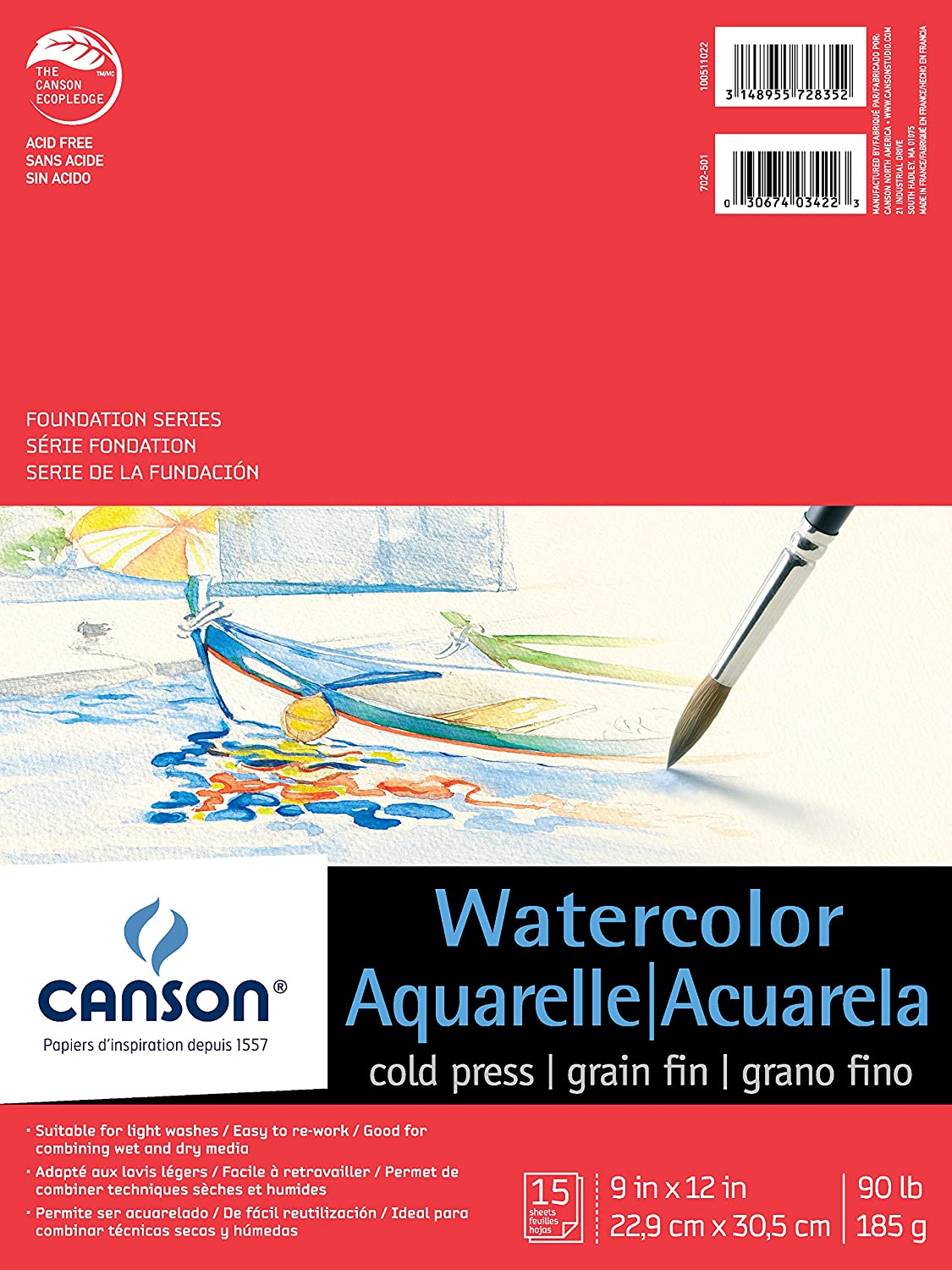 90 Pound 15 Sheets Fold Over Canson Foundation Series Watercolor Paper Pad for Wet or Dry Media 9 x 12 Inch