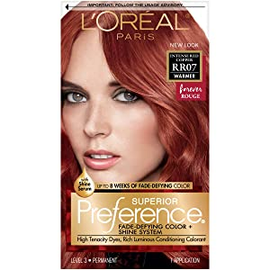 L'Oreal Paris Superior Preference Fade-Defying + Shine Permanent Hair Color, RR-07 Intense Red Copper, Pack of 1, Hair Dye