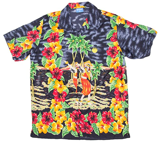 65fa812f Ragstock Men's Hibiscus Hula Dancer Print Hawaiian Aloha Shirt, Black  X-Large at Amazon Men's Clothing store: