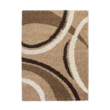 Carpet City Teppich Shaggy Design Hochflor Langflor Bogen / Streifen Muster  Für Wohnzimmer