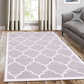 Amazon Com A2z Rug Geometric Style Light Gray Trellis Trendy 5307 Border Area Rugs 3 9 X5 6 Ft Modern Design Perfect For Any Floor Furniture Decor