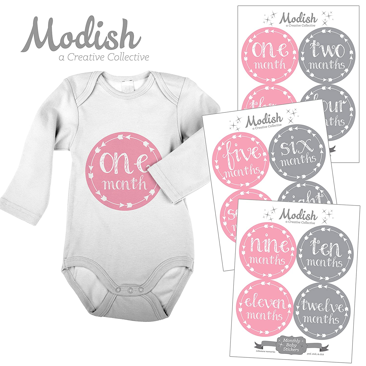 配送員設置 12 Monthly by Modish Baby Baby Stickers, Pink & Gray, Girl, Baby Belly Stickers, Monthly Onesie Stickers, First Year Stickers Months 1-12, Pink, Grey, Arrows, Tribal, Baby Girl by Modish - Creative Collective B00XFQN49K, スポーツマーケットフクシスポーツ:fb1b54c7 --- mvd.ee