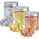 YULIKTOR Gold Foil Flakes for Resin,3 Bottles Metallic Foil Flakes 15 Gram,Imitation Gold Foil Flakes Metallic Leaf for Nails