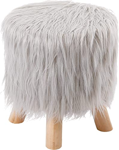 BirdRock Home Silver Faux Fur Foot Stool Ottoman Soft Compact Padded Seat