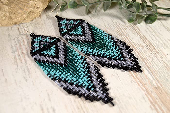 5c8a900a9b68e Amazon.com: Beaded earrings, Long fringe earrings, Boho style ...