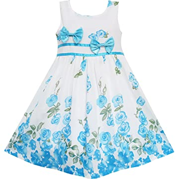 d6934a10c3b Sunny Fashion Girls Dress Rose Flower Double Bow Tie Party Sundress