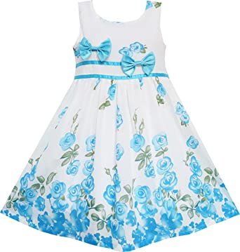 d47fa1cd9 Sunny Fashion EY71 Little Girls' Dress Blue Flower Double Bow Tie Summer  Camp ...