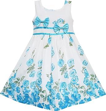 7c696f47028 Sunny Fashion EY71 Little Girls  Dress Blue Flower Double Bow Tie Summer  Camp ...