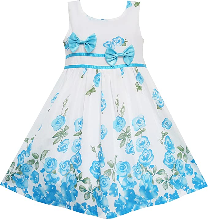 Sunny Fashion EY75 Big Girls' Dress Blue Flower Double Bow Tie Summer Camp 11-12