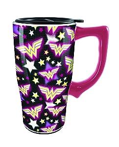 Spoontiques 12754 Wonder Woman Logo Ceramic Travel Mug, Multicolor
