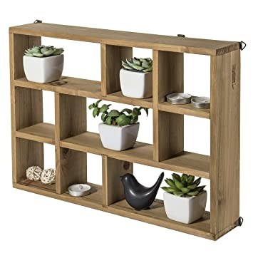 Mygift 15 Inch Wall Mounted Vertical Or Horizontal 9 Slot Rustic Wood Floating Shelvesfreestanding Shadow Box Brown