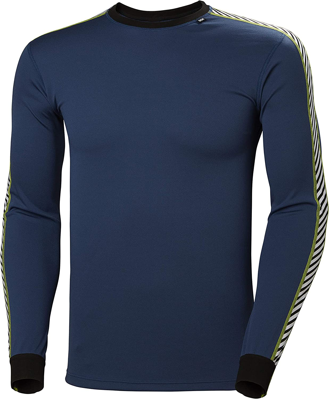 Helly Hansen Men's LIFA Stripe Performance Long Sleeve Crewneck Thermal Baselayer Top, 603 North Sea Blue, Medium