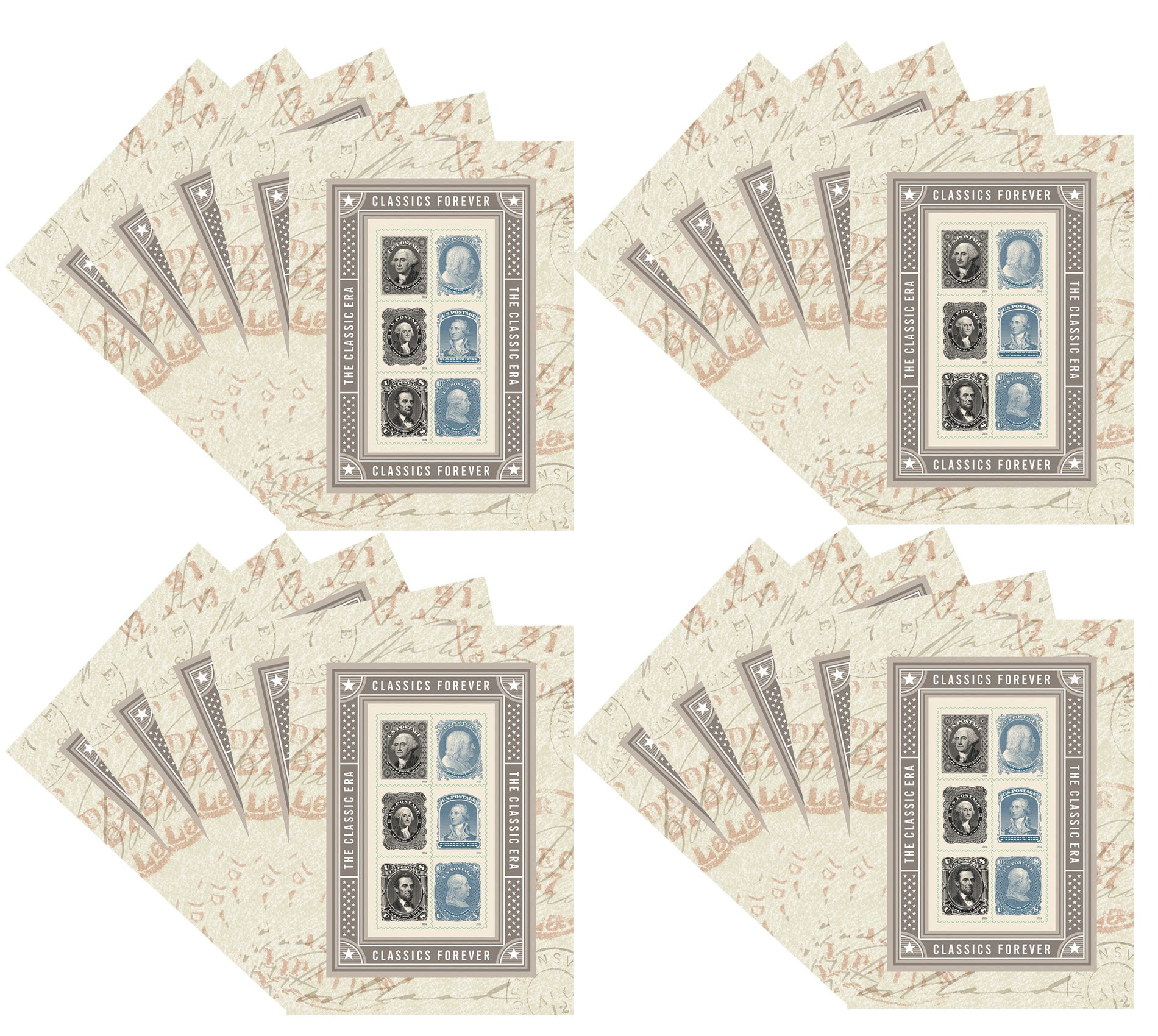 The Classic Era Souvenir Sheet of 6 Forever USPS Postage Stamps Patriotic, Historic, George Washington, Benjamin Franklin, Abraham Lincoln (20 Sheets of 6 stamps)