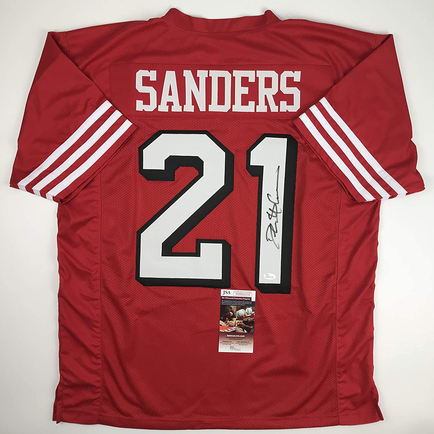 e6b799100 Autographed Signed Deion Sanders San Francisco Red Football Jersey JSA COA  at Amazon s Sports Collectibles Store