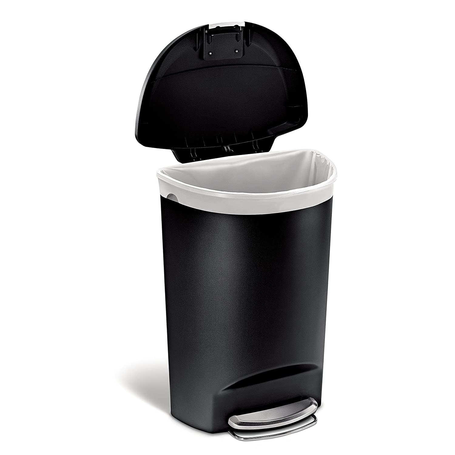 Amazon.com: Simplehuman Semi Round Step Trash Can, Black Plastic, 50 L / 13  Gal: Home U0026 Kitchen