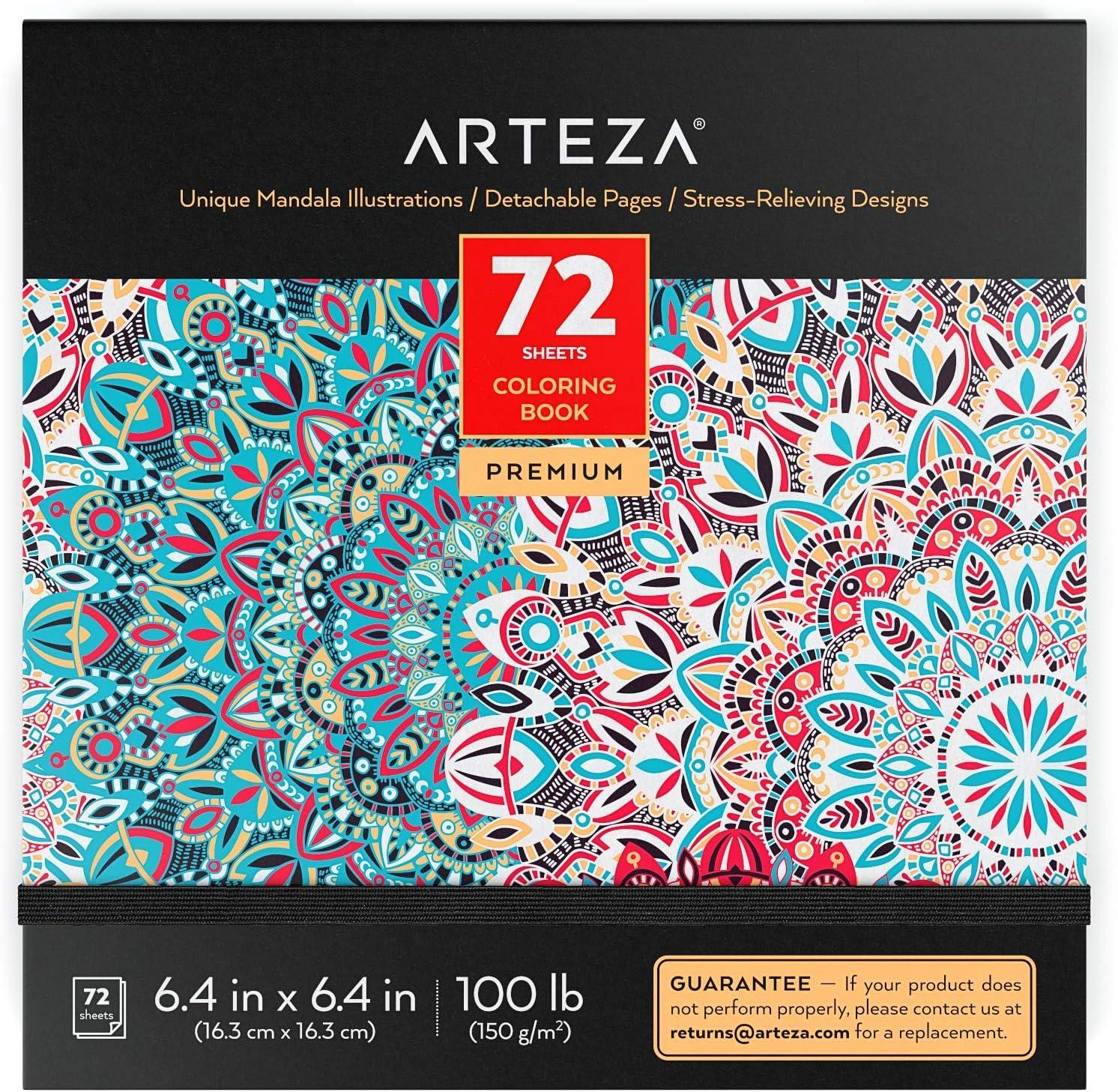 ARTEZA Libro de Mandalas para Colorear de Adultos, (16,3 cm x 16,3 cm), 72 Hojas, Papel de 150 gsm, Alivio del estrés y la ansiedad, páginas Desmontables, relájate coloreando