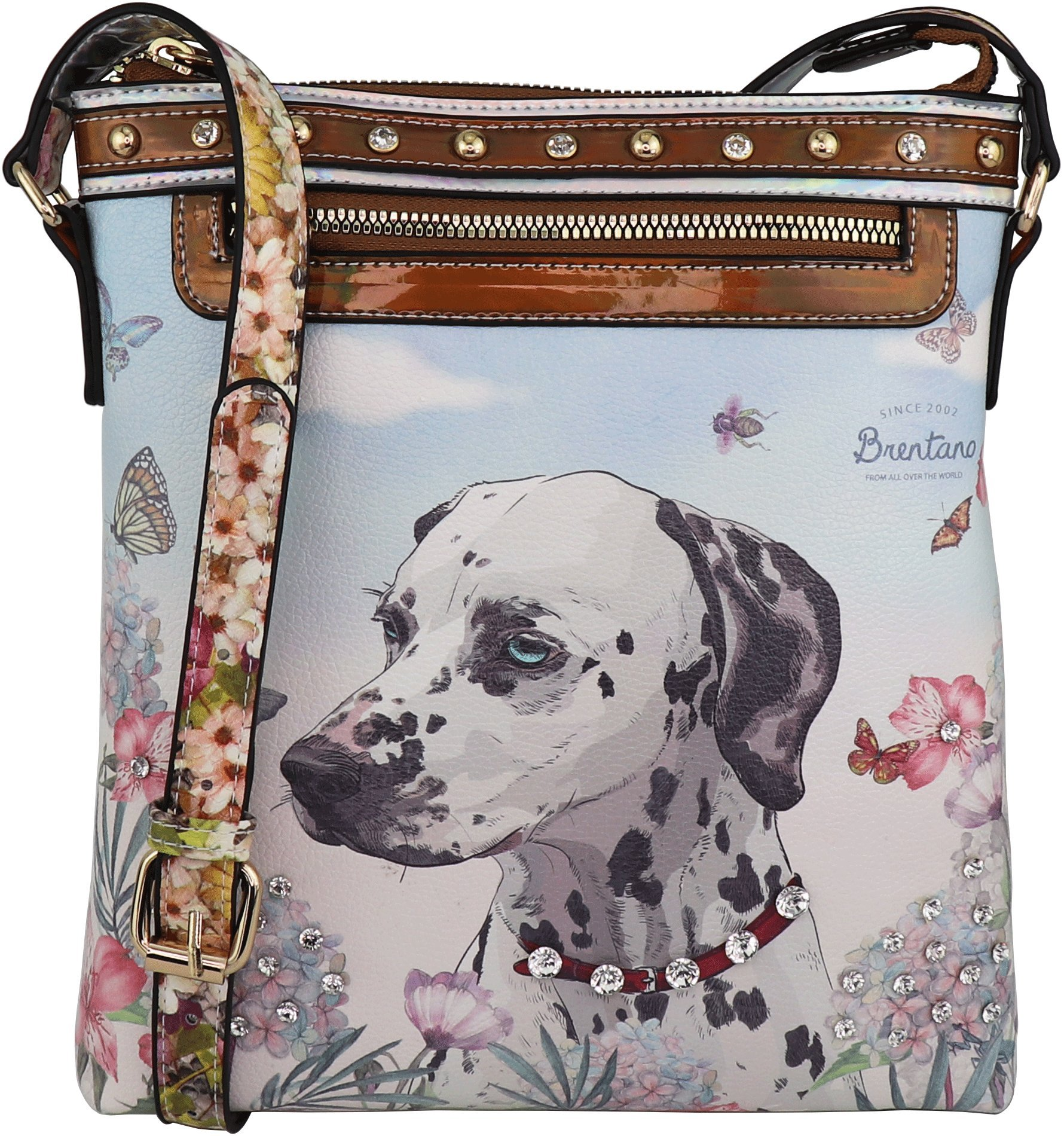 B BRENTANO Cute Animal Graphic Crossbody Bag Purse with Rhinestones (Garden Dalmatian)
