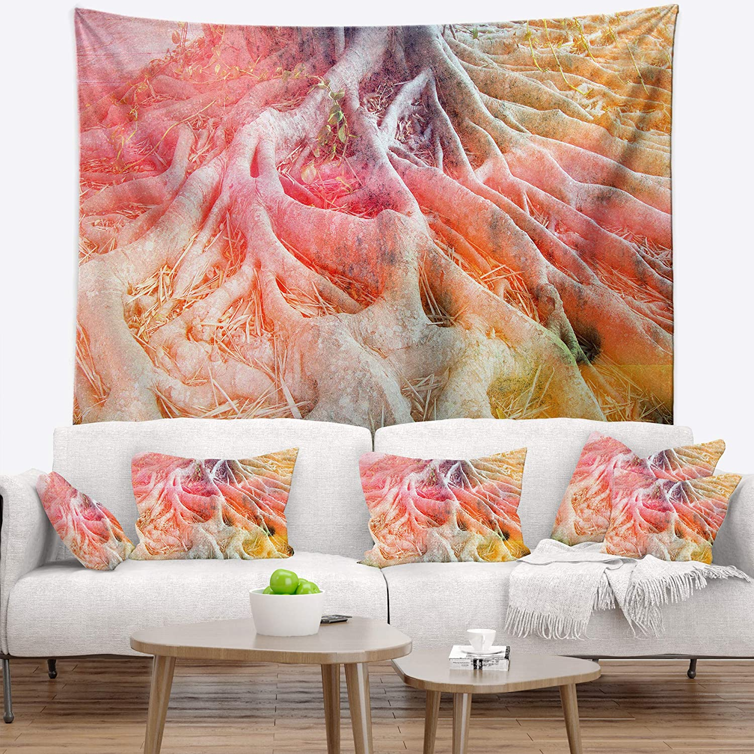 X 32 In Created On Lightweight Polyester Fabric Medium 39 In Designart Tap8588 39 32 Retro Roots Watercolor Trees Painting Blanket Décor Art For Home And Office Wall Tapestry Home Kitchen Home Décor