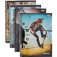 Caderno Universitário, Capa Dura, 1 X 1, Teen Way 96 Folhas, Pacote com 04, Jandaia, 59397, Multicor
