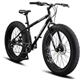 Mongoose Malus Fat Tire Bike with 26-Inch Wheels, with Steel Frame, 7-Speed Shimano Drivetrain, and Mechanical Disc…