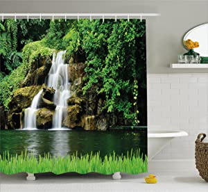 """Ambesonne Waterfall Shower Curtain, Double Waterfalls Flow to Natural Green Lake with Bushes and Grass Like Garden Print, Cloth Fabric Bathroom Decor Set with Hooks, 70"""" Long, Green White"""
