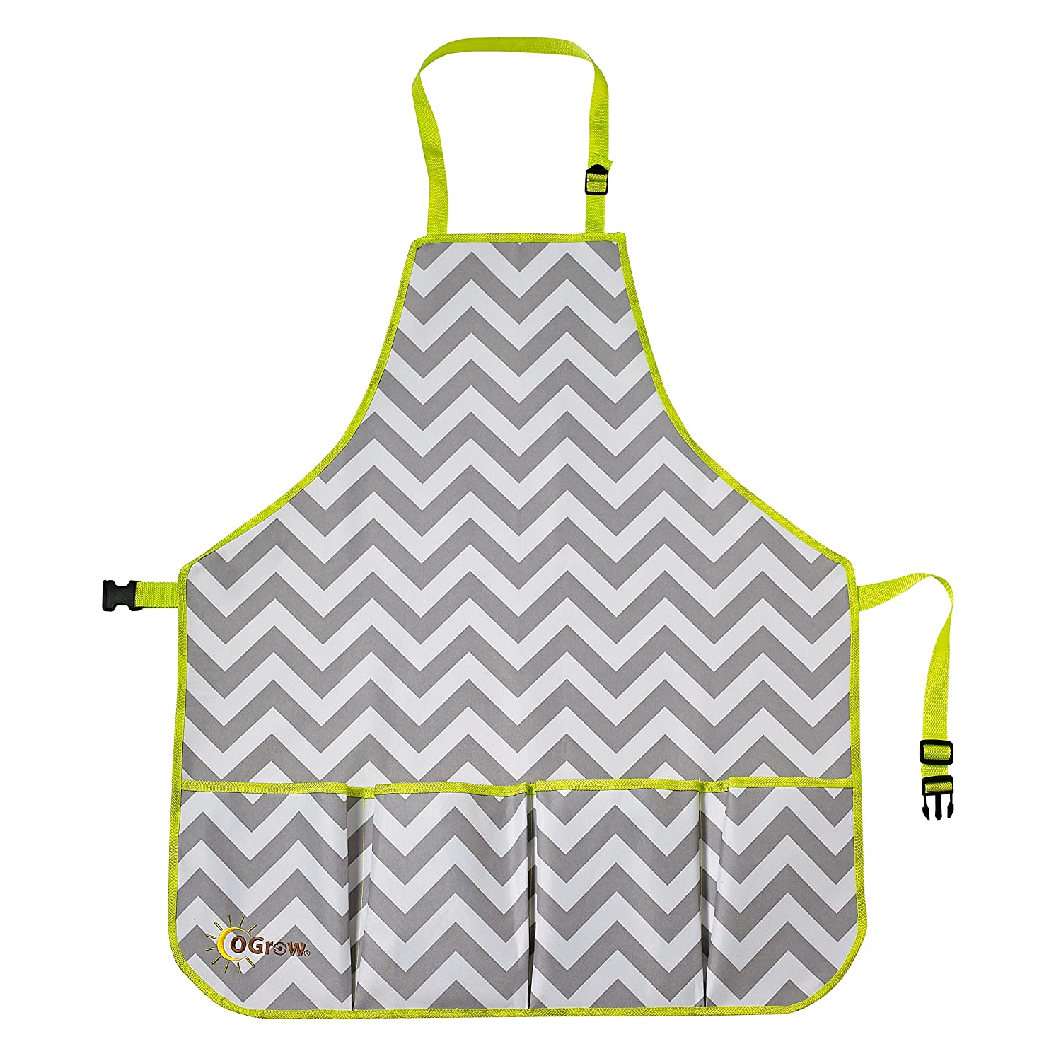 Ogrow High Quality Gardener's Tool Apron with Adjustable Neck and Waist Belts, Grey/White Chevron, Medium