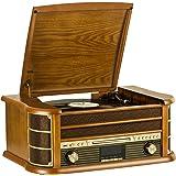 SHUMAN MC-250DBT Nostalgie Kompaktanlage mit Plattenspieler, UKW/DAB+ Radio, Kassette, CD/MP3 player , USB,drahtlose Verbindung mit Ihrem tragbaren Audiogerät
