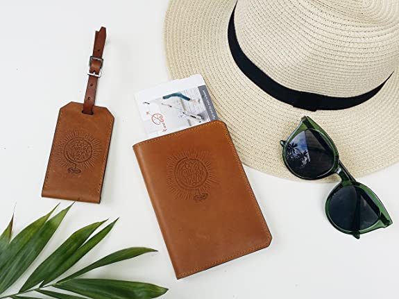 Handmade Wax Leather Embossed Travel Set SIM Card Eject Pin Tool Included Passport Holder and Luggage Tag