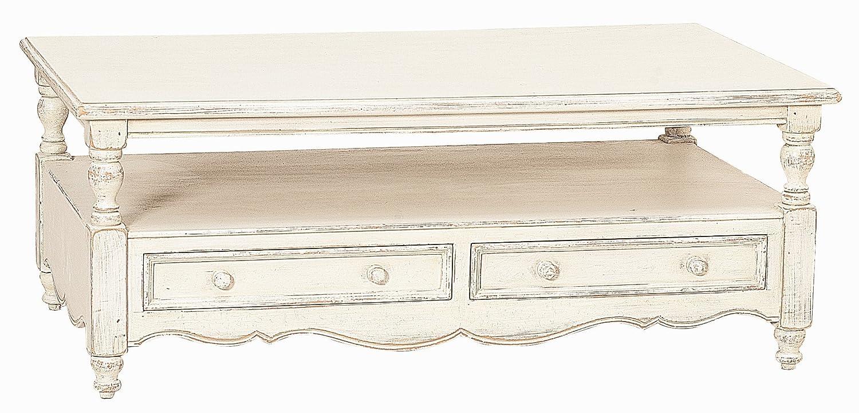 Couch-Tisch weiß lackiert aus Pinie und MDF mit 2 Schubladen und 1 Fach 119x69x47 cm recht-eckig | Country Side | Antiker Wohnzimmer-Tisch weiss im Landhausstil mit Gebrauchsspuren 119cm x 69cm x 47cm