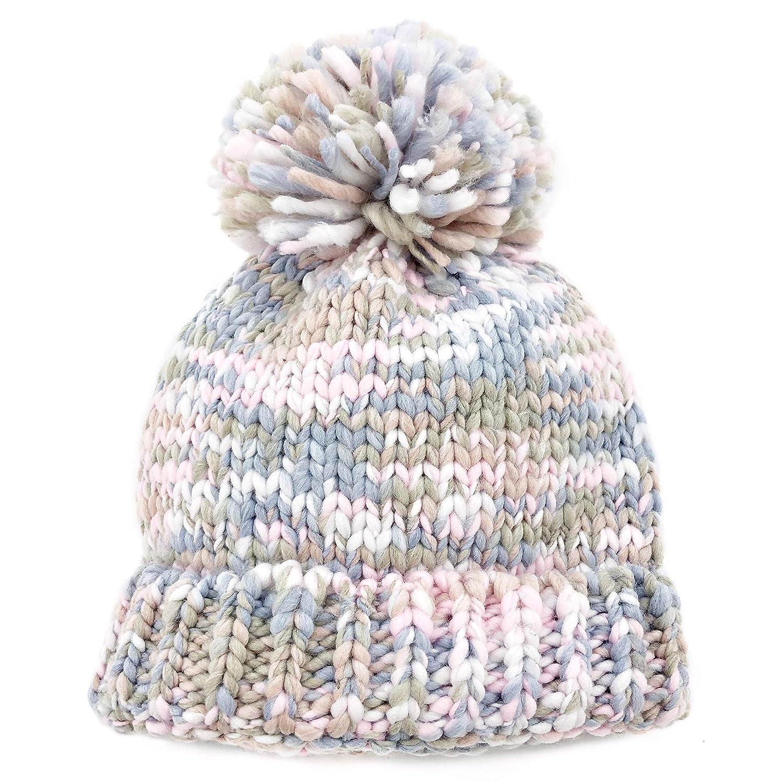 Amazon.com  accsa Kids Girl Chunky Cozy Knit Mix Pink Pom Pom Beanie Hat  with Rib Age 3-5  Clothing 4ec3f5606e7