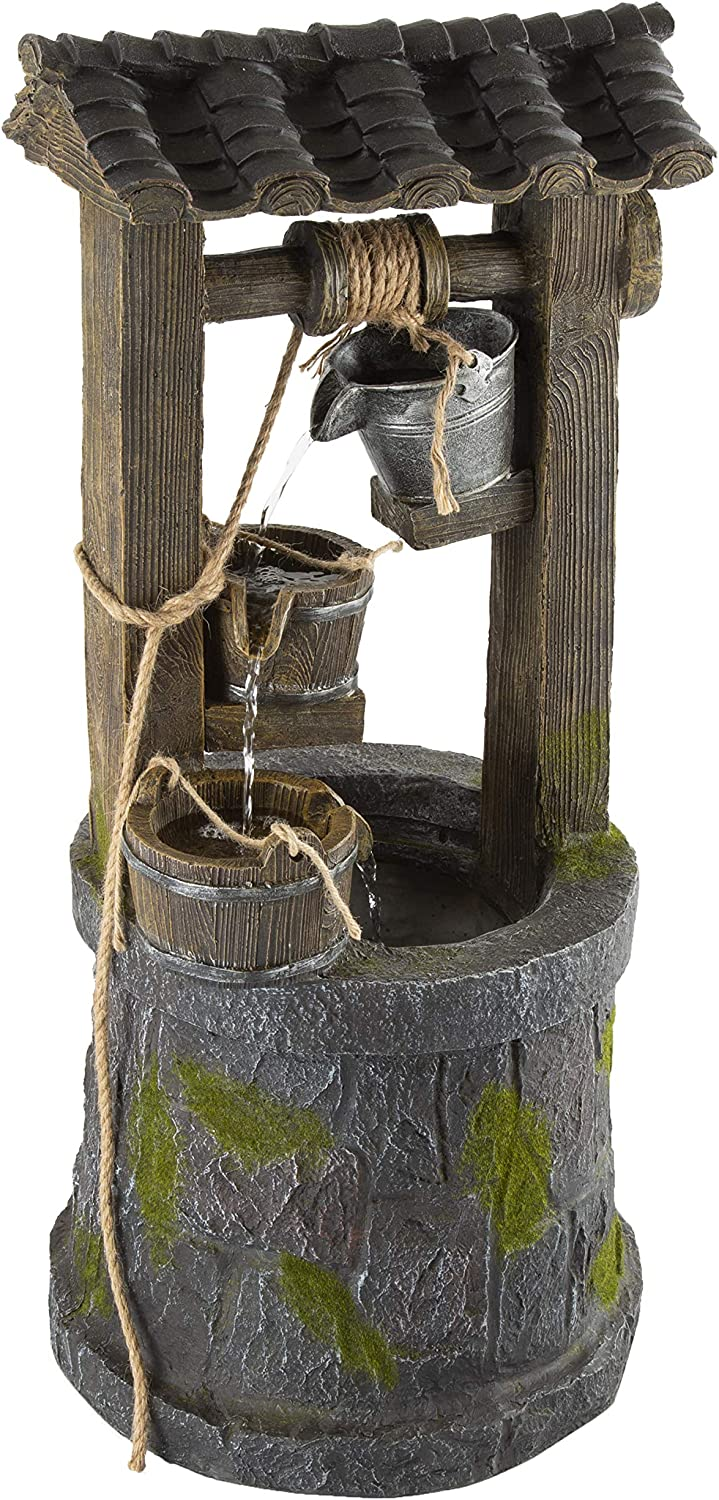 """Wishing Well Fountain- 4-Tier Polyresin Cascading Waterfall- Hand Painted Outdoor Water Feature- 32.5"""" Tall Traditional Backyard Decor by Pure Garden"""