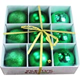9pk 80mm Shatterproof All Green Christmas Tree Ornaments