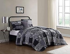 Geneva Home Fashion Ziva Quilt Set, Queen, Black/White/Grey