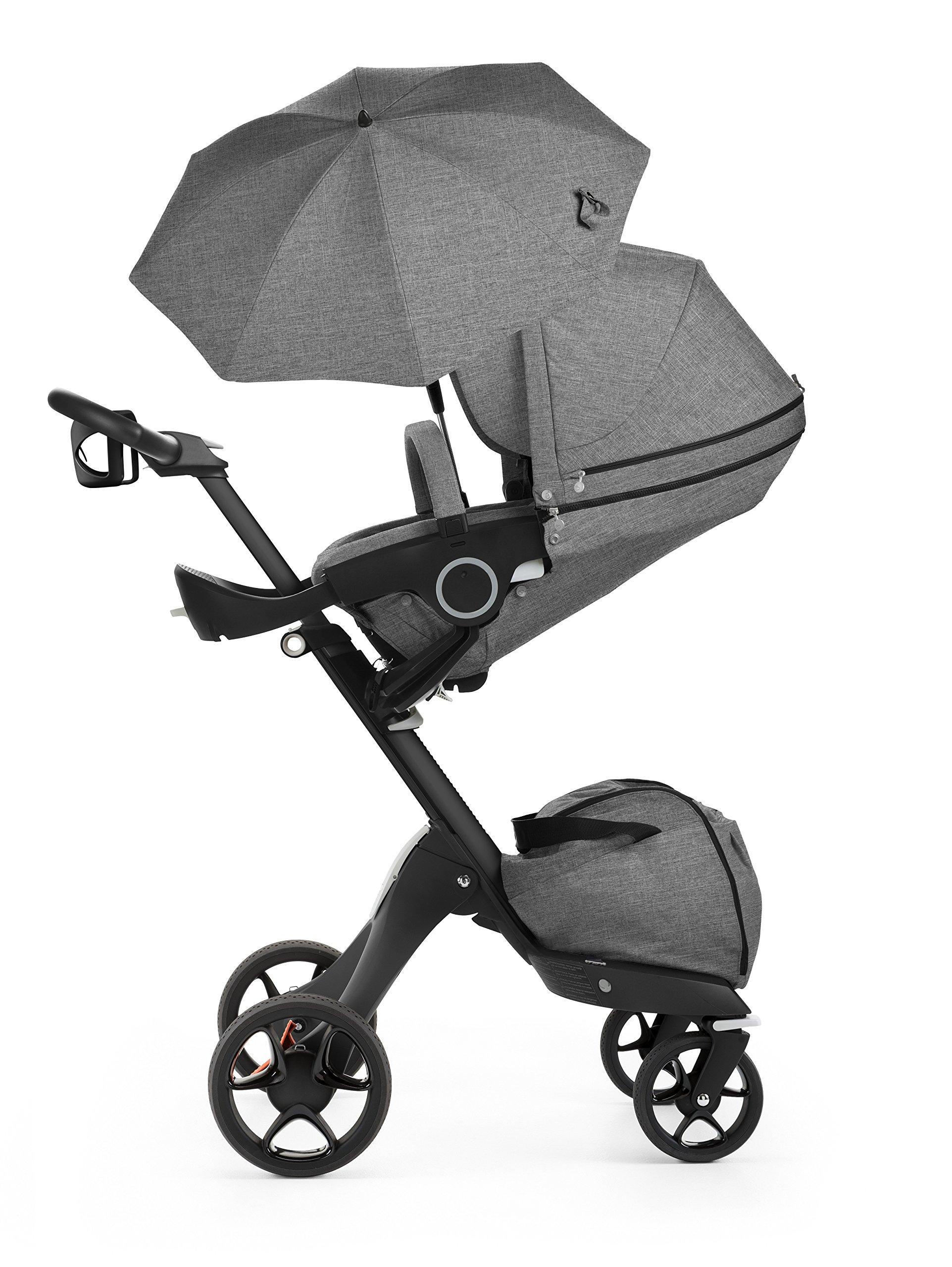 Stokke Black V5 / Chassis With Complete Stroller Seat, Parasol and Cup Holder, Black Melange by Stokke (Image #3)