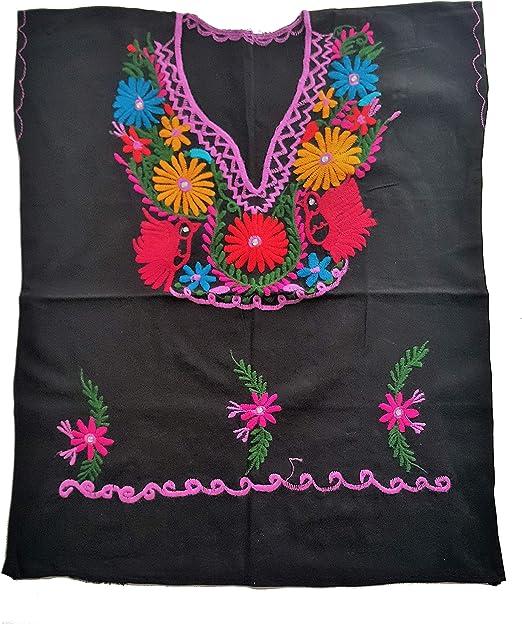 Amazon.com: Blusa bordada mexicana de flores y pájaros ...