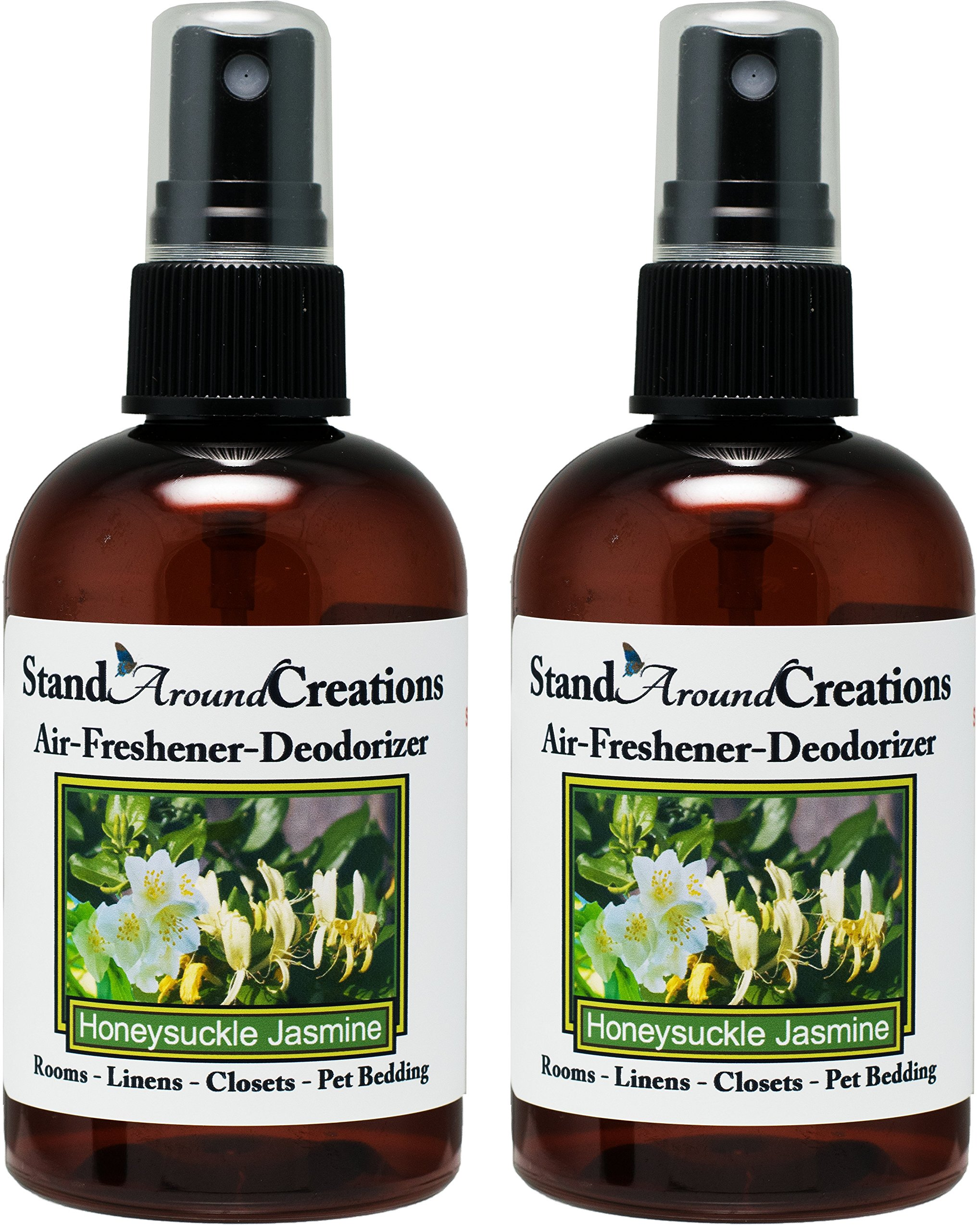 Stand Around Creations Set of 2-4-oz.-Concentrated Spray Air-Freshener/Deodorizer - Scent: Honeysuckle/Jasmine - Great for: Cars, Offices, Air-Conditioners, Litter Boxes, locker & laundry rooms