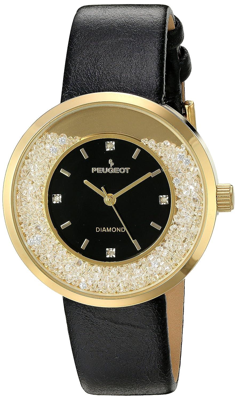 Peugeot Damen Echten Diamanten Marker Gold Floating Kristall Armbanduhr