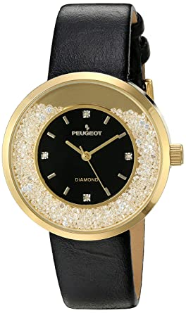 Peugeot Women S Round Silver Slim Thin Genuine Diamond Floating Cz Black Band Dress Watch 3041sbk