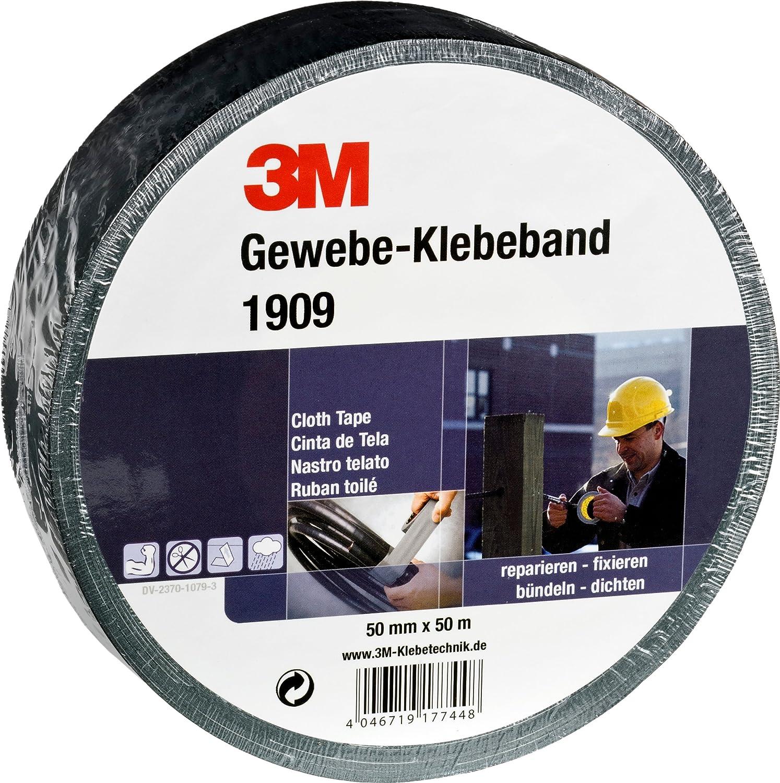 3M Premium Gewebeklebeband 389 19 mm x 50 m 1-er Pack schwarz