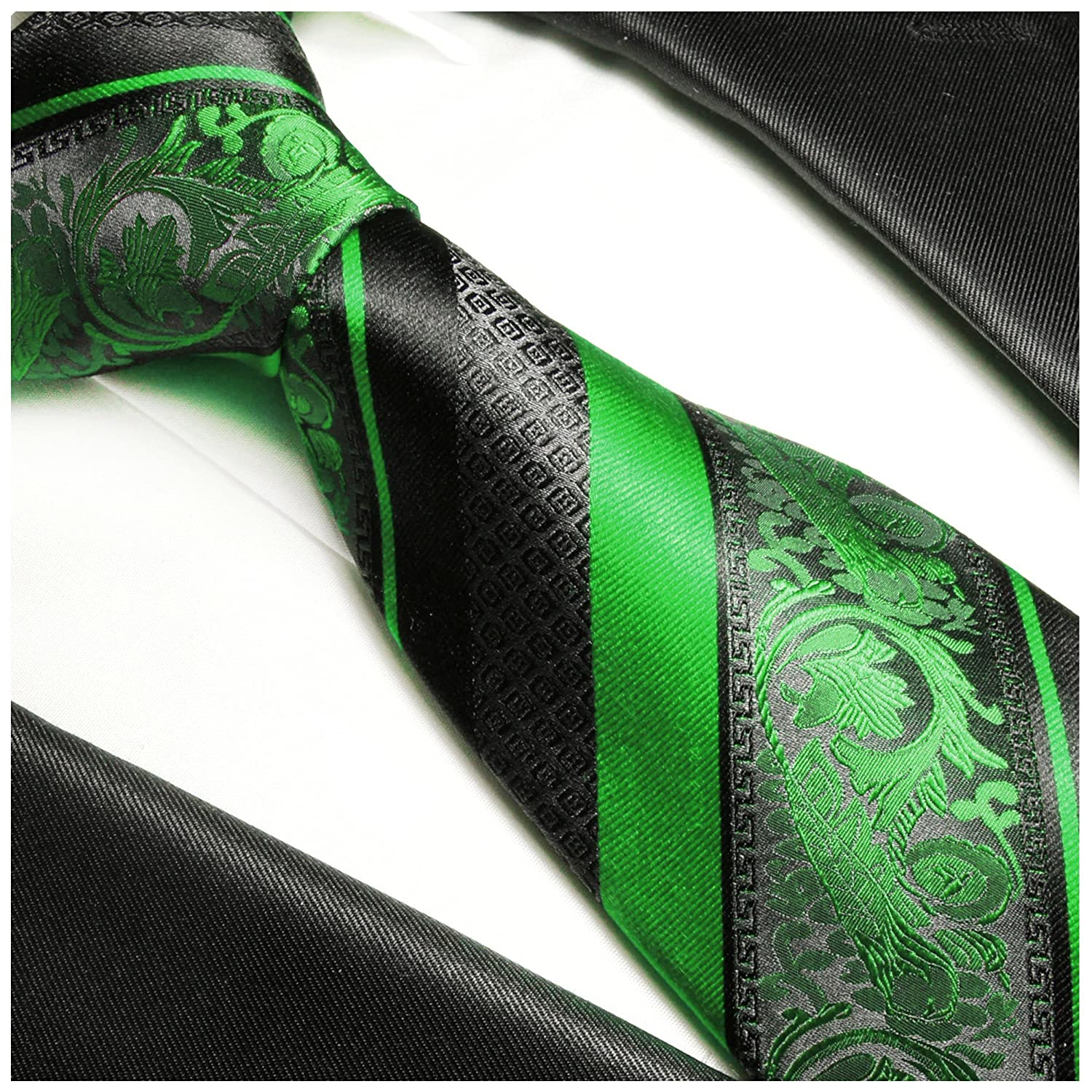 Green and Black Silk Tie with Pocket Square and Cufflinks