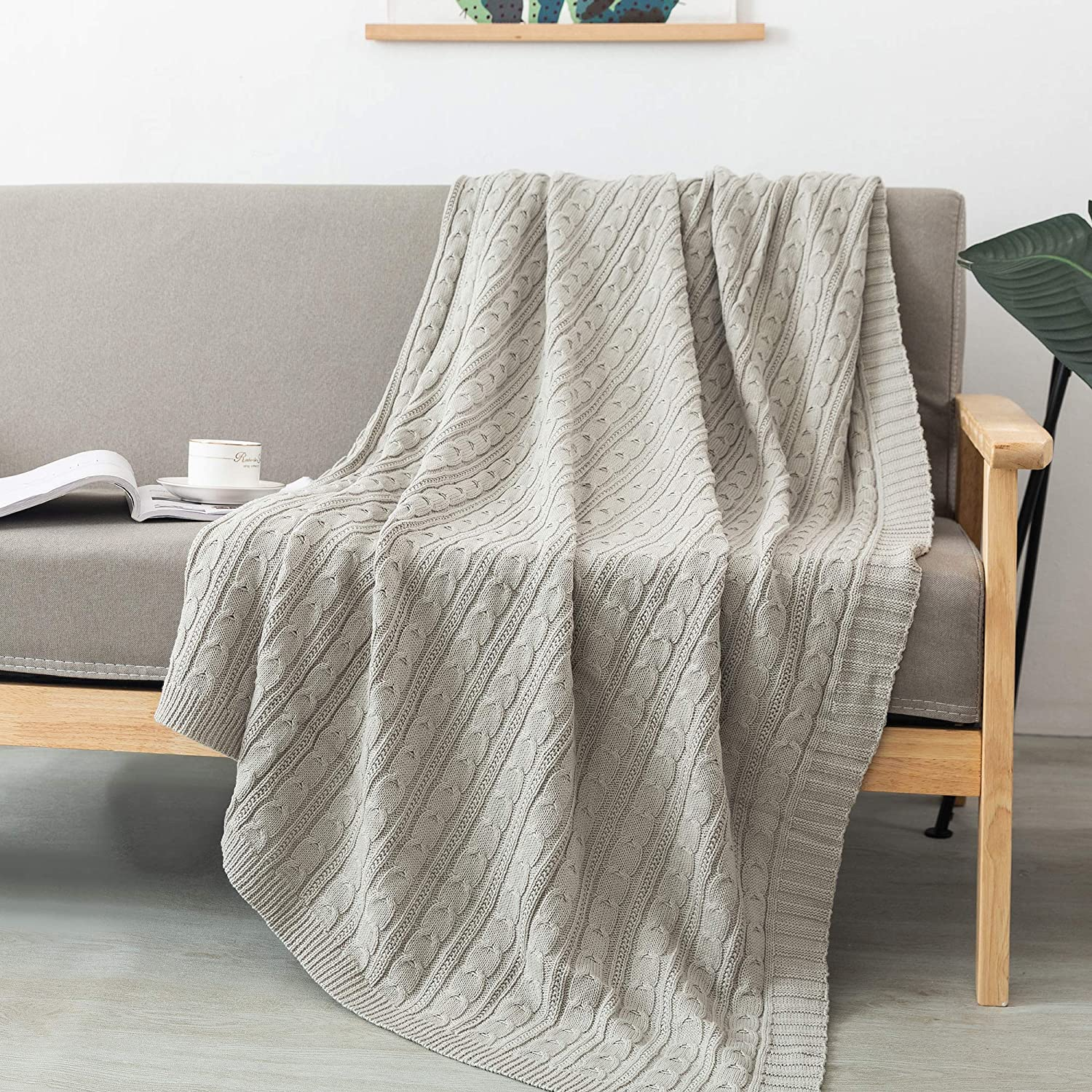 FELIX ANGELA HOME 100% Cotton Knitted Throw, Soft Lightweight Throws for Couch Sofa Chair Bed, 50