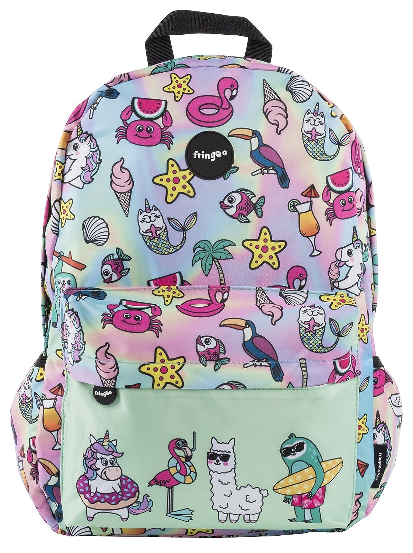e3fe33f4b4b2 FRINGOO® Girls Boys School Backpack Waterproof Travel Bag Fits Laptop 17    (Dream Team)  Amazon.co.uk  Luggage