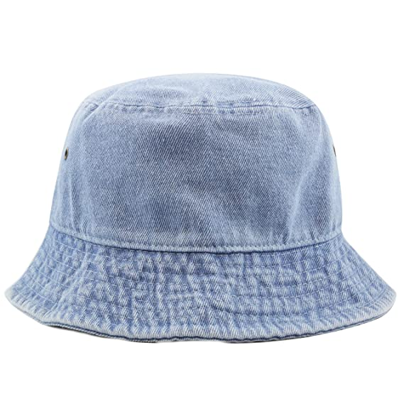 The Hat Depot High Quality Washed Cotton Denim Bucket Hat at Amazon Women s  Clothing store  b88df128711f