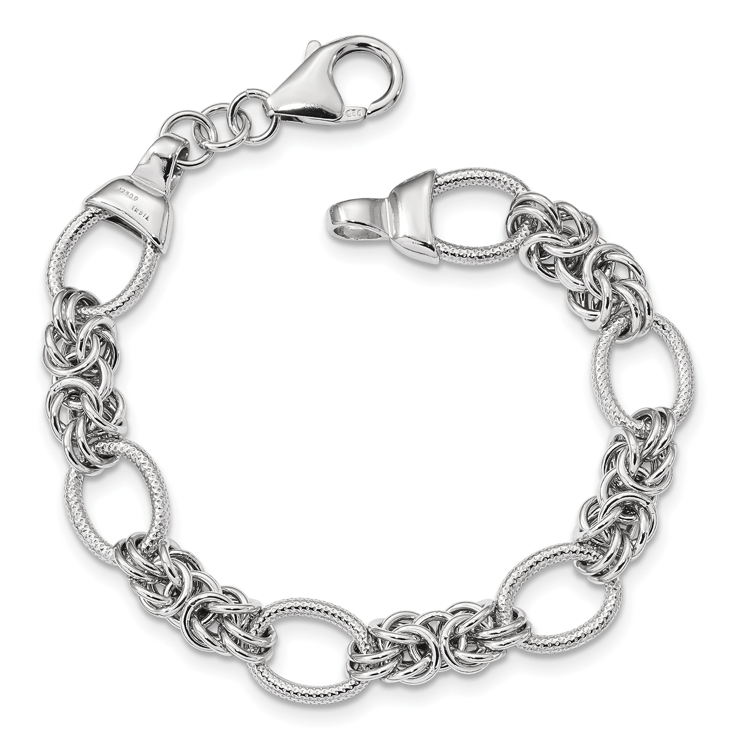 ICE CARATS 925 Sterling Silver Textured Link Bracelet 7.50 Inch Chain Fancy Fine Jewelry Gift Set For Women Heart