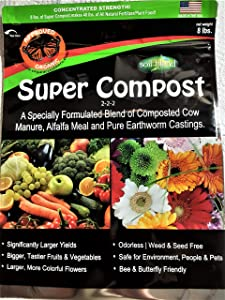 Super Compost by Soil Blend. 8 Lb. Bag of Super Compost Organic Plant Food. 2-2-2 Concentrated (8 lbs. Makes 40 lbs.) Larger Yields, Bigger, Tastier Fruits & Vegetables. Nutrient Dense.