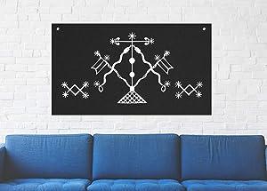 Damballah Voodoo Veve Wall Tapestry - Goat Skull Sigil of Lucifer Pentagram Dragon Demon Evil Mendes Goat's Head Gothic Metal Occult Punk Satanic Death Wicca Baphomet Leviathan Cross Inverted