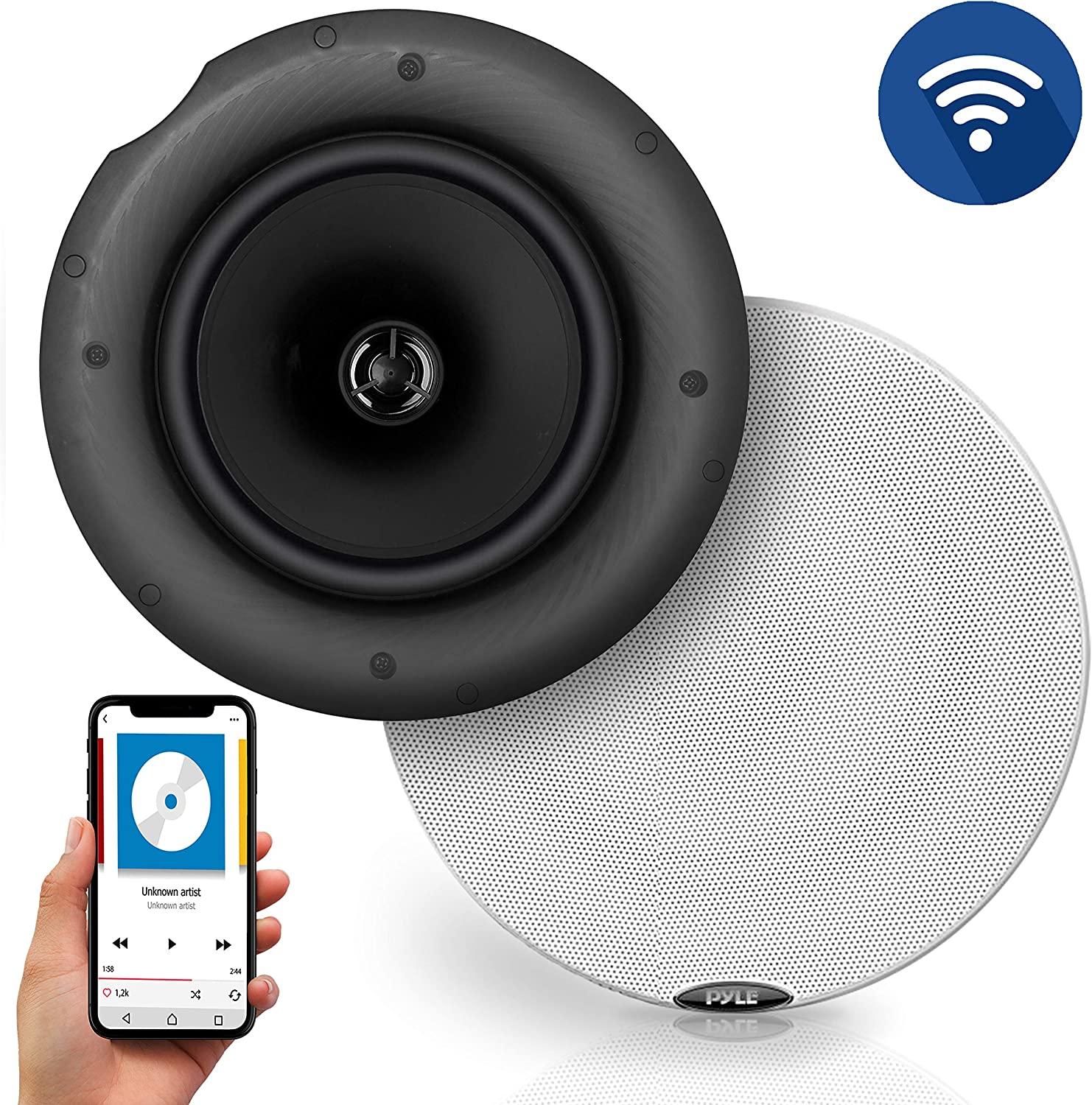 """Pyle Pair 6.5"""" Bluetooth Universal Flush Mount in-Wall in-Ceiling 2-Way Speaker System Dual Polypropylene Cone & Polymer Tweeter Stereo Sound 300 Watts (PDICBT67)"""