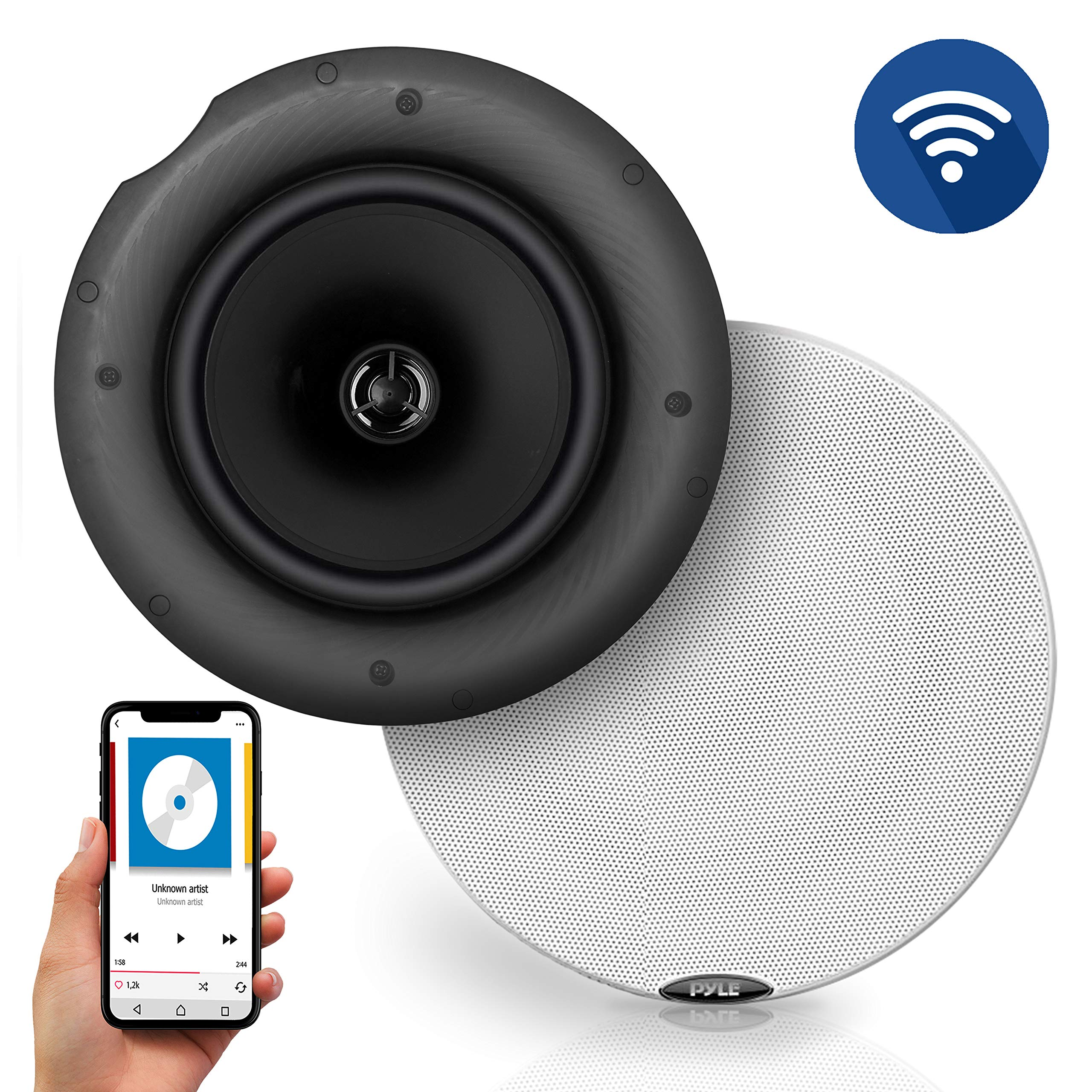 Pyle Pair 6.5'' Bluetooth Universal Flush Mount in-Wall in-Ceiling 2-Way Speaker System Dual Polypropylene Cone & Polymer Tweeter Stereo Sound 300 Watts (PDICBT67)